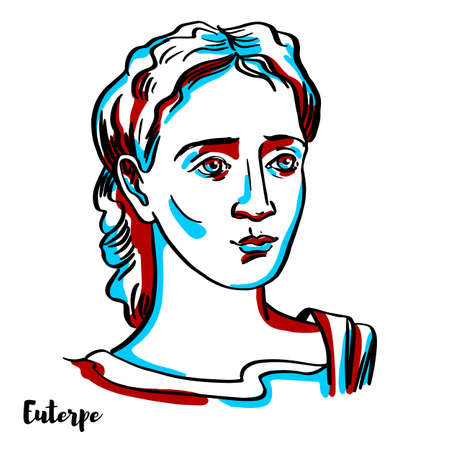 Euterpe engraved vector portrait with ink contours on white background. She was one of the Muses in Greek mythology, presiding over music.