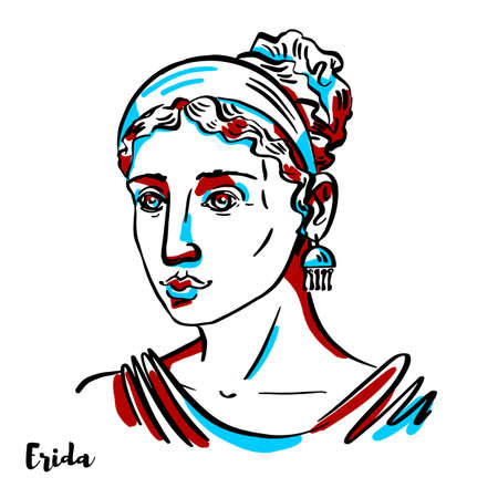 Erida engraved vector portrait with ink contours on white background. She is the Greek goddess of strife and discord.