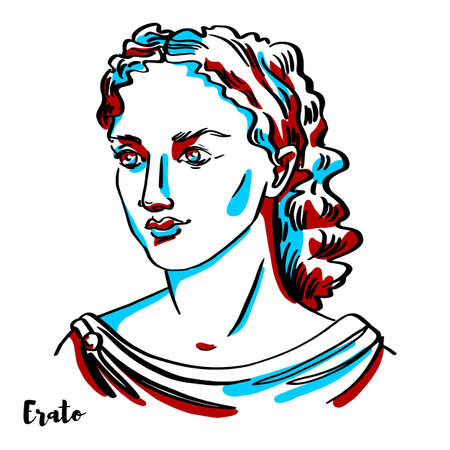 Erato engraved vector portrait with ink contours on white background. In Greek mythology, Erato is one of the Greek Muses, which were inspirational goddesses of literature, science, and the arts. Stock Illustratie