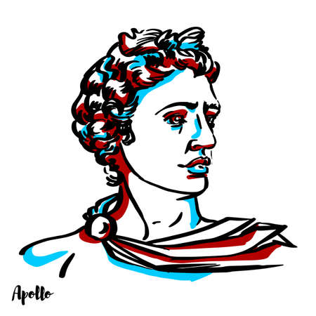 Apollo engraved vector portrait with ink contours on white background.Apollo [a] is one of the Olympian deities in classical Greek and Roman religion and Greek and Roman mythology.