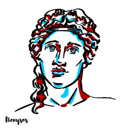 Dionysos engraved vector portrait with ink contours on white background. Dionysus is the god of the grape-harvest, winemaking and wine, of fertility, orchards and fruit, vegetation, insanity, ritual.