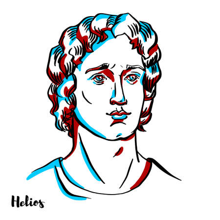 Helios engraved vector portrait with ink contours on white background.Helios, also Helius in ancient Greek religion and myth, is the god and personification of the Sun.