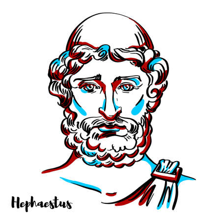 Hephaestus engraved vector portrait with ink contours on white background. He is the Greek god of blacksmiths, metalworking, craftsmen, artisans, sculptors, metallurgy, fire, and volcanoes. Stock Illustratie