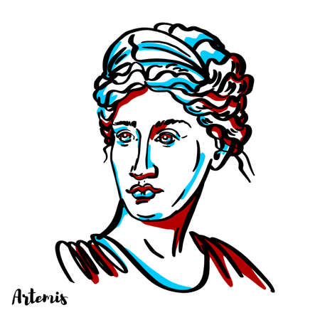 Artemis engraved vector portrait with ink contours on white background. The Greek goddess of the hunt, the wilderness, wild animals, the Moon, and chastity. The goddess Diana is her Roman equivalent.