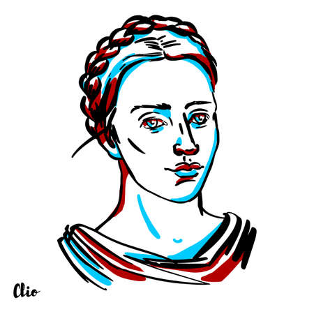 Clio engraved vector portrait with ink contours on white background. In Greek mythology, Clio is the muse of history, or in a few mythological accounts, the muse of lyre playing.