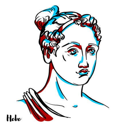 Hebe engraved vector portrait with ink contours on white background. In ancient Greek religion, is the goddess of youth or the prime of life.
