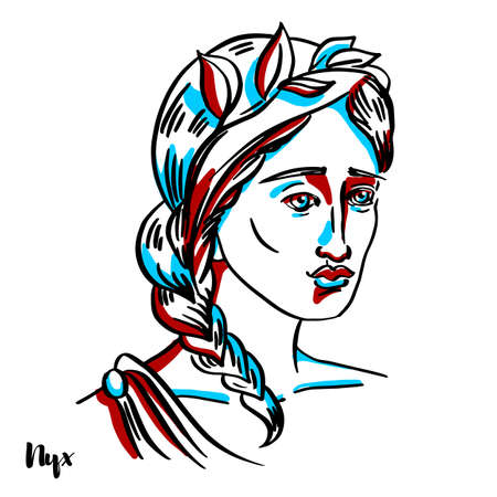 engraved vector portrait with ink contours on white background.