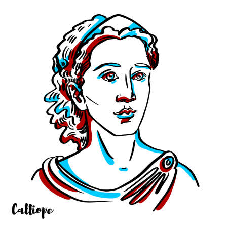MarusyaCalliope engraved vector portrait with ink contours on white background. Calliope is the Muse who presides over eloquence and epic poetry; so called from the ecstatic harmony of her voice