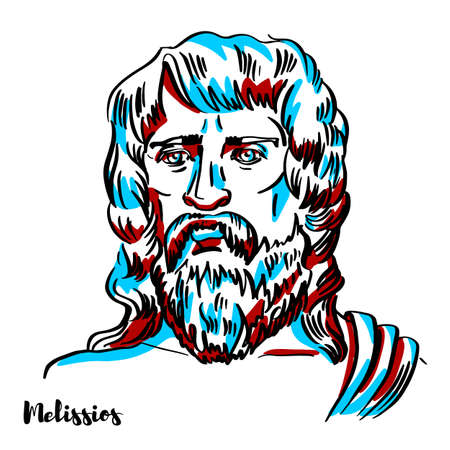 Melissios engraved vector portrait with ink contours on white background. Stock Illustratie