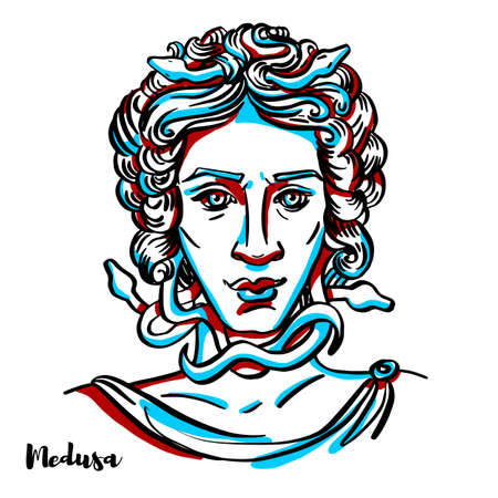 Medusa engraved vector portrait with ink contours on white background. In Greek mythology, Medusa was one of the three monstrous Gorgons, generally described as winged human females with living snakes