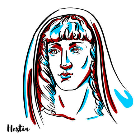 Hestia engraved vector portrait with ink contours on white background. In the Ancient Greek religion, Hestia is the virgin goddess of the hearth, the family, and the home. Stock Illustratie