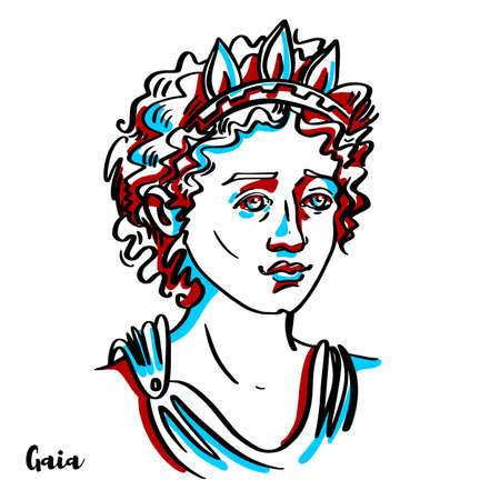 Gaia engraved vector portrait with ink contours on white background. In Greek mythology, Gaia is the personification of the Earth and one of the Greek primordial deities.