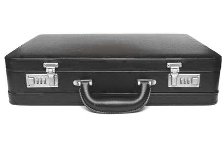 black briefcase: malet�n negro sobre fondo blanco