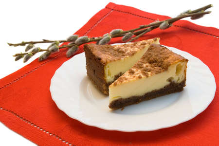 Two pieces of cheesecake on the plate with catkins Stock Photo - 5151961