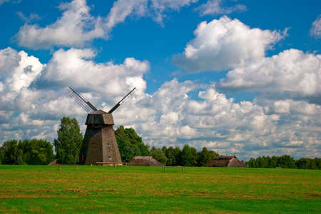 Beautiful landscape with old windmill