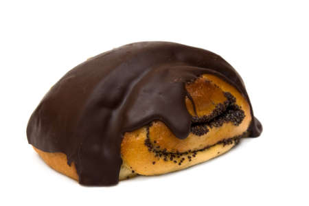 chocolate bun on white background Stock Photo - 5851540