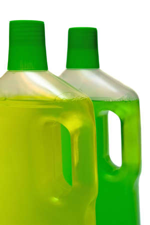 two bottles of cleaneron white background Stock Photo