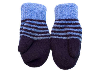 A pair of wool mittens on white background Stock Photo