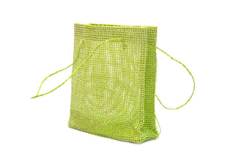 A green gift bag on white background Stock Photo