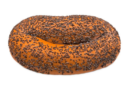 Bagel with poppy seeds on white background Stock Photo