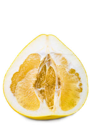 Ripe halved grapefruit on a white background