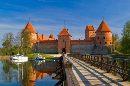 Island castle in Trakai, one of the most popular touristic destinations in Lithuania Stock Photo
