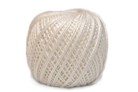 Linen twine (string) spool on white background
