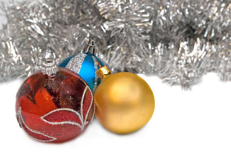Elegant Christmas baubles (toys) on a white background Stock Photo