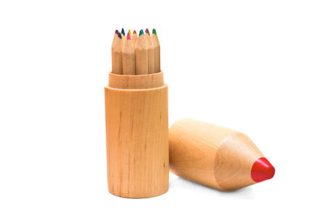 Color wooden pencils isolated on white background