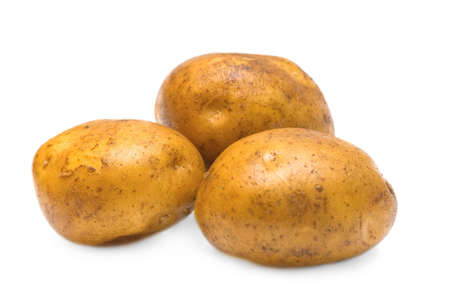 Three baking potatoes isolated on white background
