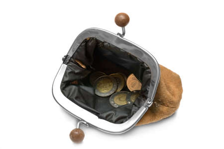 pauperism: Old purse with coins isolated on white background Stock Photo