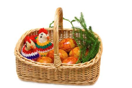 Easter still-life. Homemade cocks and eggs on white background