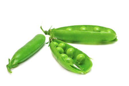 Fresh green pea in the pod isolated on white background Stock Photo