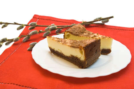 Two pieces of cheesecake on the plate with catkins Stock Photo - 10754849