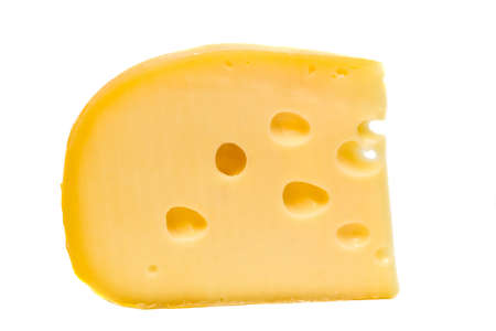 Piece of swiss cheese isolated on a white background