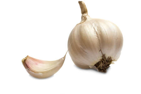 Two garlics isolated on the white background Stock Photo