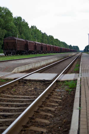 Old train wagons at the railway station