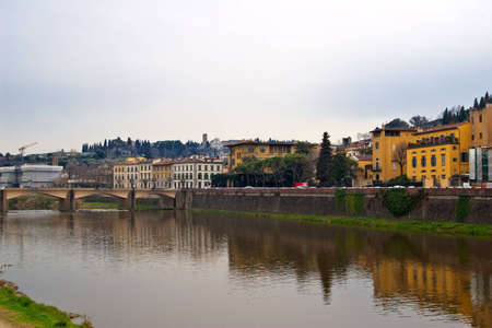 The Arno river and bridge in Florence, Italy