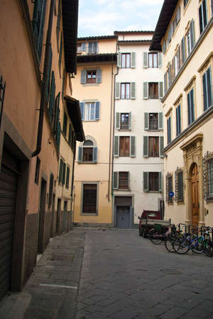 The beautiful narrow streets of Florence, Italy photo
