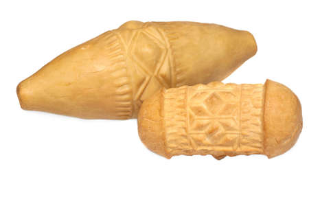 Traditional Polish smoked cheese - oscypek on white background