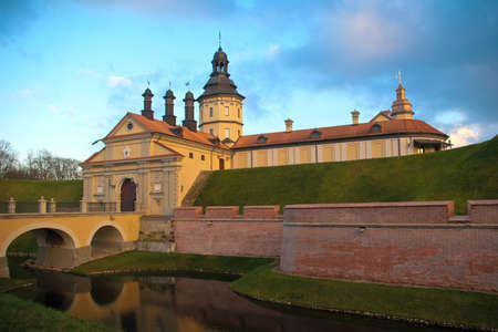 Castle of the XVII century in Nesvizh, Belarus. Architecturall Complex of the Radziwill Family