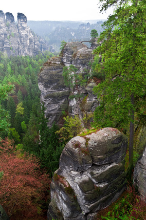 View from  Bastei  in german national park  bear Dresden