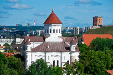Vilnius. Capital of Lithuania. Gediminas Castle Tower and Cathedral of the Theotokos