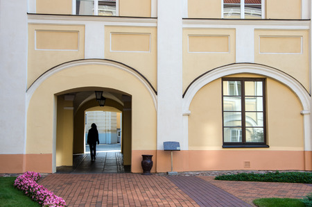 alma: Silhouette of a girl at the gate of the Vilnius university