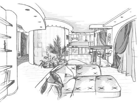 abatjour: Nella figura, eseguito a matita, descrive gli elementi interni, mobili e impianti.