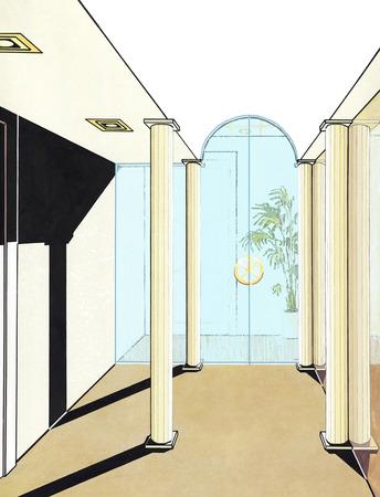 tabique: Espacio elegante interior de la oficina con mampara de cristal. Habitaci�n luminosa con columnas, una pared de espejos, un tabique transparente, plantas decorativas sin muebles.