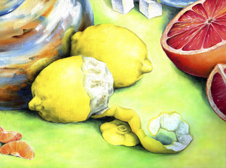 orange peel clove: Citrus still-life.  Two lemon, cutting grapefruit, tangerine slices depicted in oil on canvas.