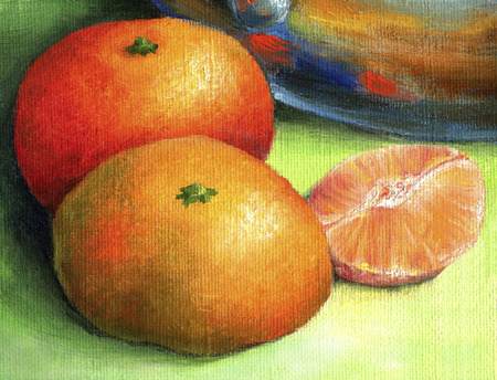Two red mandarin and tangerine peeled part.  Ripe, juicy tangerines, painted in oil on canvas.