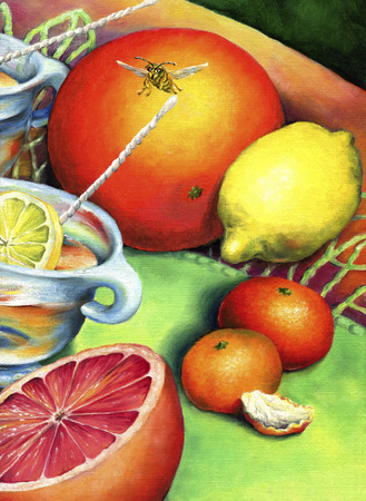 Citrus still-life with bee. Citrus tea in a glass cup, surrounded by lemon, grapefruit and tangerine.