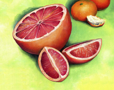 Red grapefruit, painted in oil on canvas. Grapefruit, cut into pieces. Banque d'images